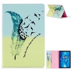 Feather Bird Folio Stand Leather Wallet Case for Huawei MediaPad M5 10 / M5 10 inch (Pro)