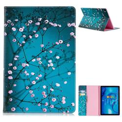 Blue Plum flower Folio Stand Leather Wallet Case for Huawei MediaPad M5 10 / M5 10 inch (Pro)
