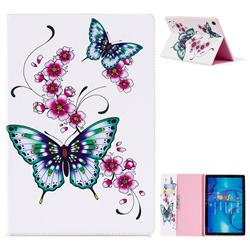 Peach Butterflies Folio Stand Leather Wallet Case for Huawei MediaPad M5 10 / M5 10 inch (Pro)