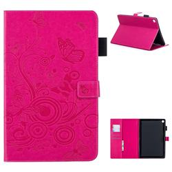 Intricate Embossing Butterfly Circle Leather Wallet Case for Huawei MediaPad M5 10 / M5 10 inch (Pro) - Red