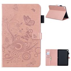 Intricate Embossing Butterfly Circle Leather Wallet Case for Huawei MediaPad M5 10 / M5 10 inch (Pro) - Rose Gold