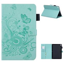 Intricate Embossing Butterfly Circle Leather Wallet Case for Huawei MediaPad M5 10 / M5 10 inch (Pro) - Cyan