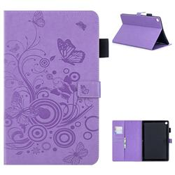 Intricate Embossing Butterfly Circle Leather Wallet Case for Huawei MediaPad M5 10 / M5 10 inch (Pro) - Purple