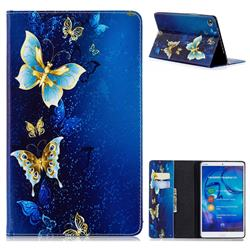 Golden Butterflies Folio Stand Leather Wallet Case for Huawei MediaPad M5 8 inch