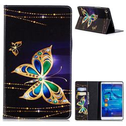 Golden Shining Butterfly Folio Stand Leather Wallet Case for Huawei MediaPad M5 8 inch