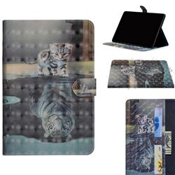 Tiger and Cat 3D Painted Leather Tablet Wallet Case for Huawei MediaPad M5 Lite(10.1 inch)