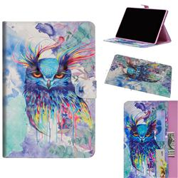 Watercolor Owl 3D Painted Leather Tablet Wallet Case for Huawei MediaPad M5 Lite(10.1 inch)