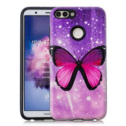 Glossy Butterfly Pattern 2 in 1 PC + TPU Glossy Embossed Back Cover for Huawei P Smart(Enjoy 7S)