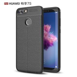 Luxury Auto Focus Litchi Texture Silicone TPU Back Cover for Huawei P Smart(Enjoy 7S) - Black