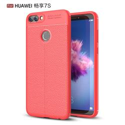 Luxury Auto Focus Litchi Texture Silicone TPU Back Cover for Huawei P Smart(Enjoy 7S) - Red