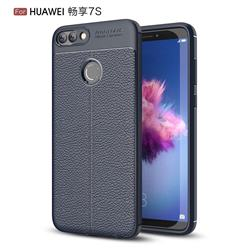 Luxury Auto Focus Litchi Texture Silicone TPU Back Cover for Huawei P Smart(Enjoy 7S) - Dark Blue