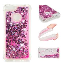 Dynamic Liquid Glitter Sand Quicksand TPU Case for Huawei P Smart(Enjoy 7S) - Pink Love Heart
