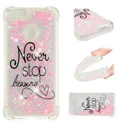 Never Stop Dreaming Dynamic Liquid Glitter Sand Quicksand Star TPU Case for Huawei P Smart(Enjoy 7S)