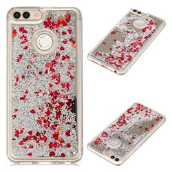 Glitter Sand Mirror Quicksand Dynamic Liquid Star TPU Case for Huawei P Smart(Enjoy 7S) - Red