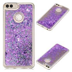 Glitter Sand Mirror Quicksand Dynamic Liquid Star TPU Case for Huawei P Smart(Enjoy 7S) - Purple