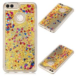 Glitter Sand Mirror Quicksand Dynamic Liquid Star TPU Case for Huawei P Smart(Enjoy 7S) - Yellow