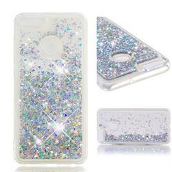 Dynamic Liquid Glitter Quicksand Sequins TPU Phone Case for Huawei P Smart(Enjoy 7S) - Silver