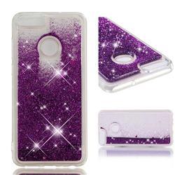 Dynamic Liquid Glitter Quicksand Sequins TPU Phone Case for Huawei P Smart(Enjoy 7S) - Purple