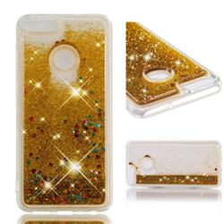 Dynamic Liquid Glitter Quicksand Sequins TPU Phone Case for Huawei P Smart(Enjoy 7S) - Golden