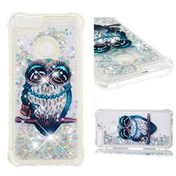 Sweet Gray Owl Dynamic Liquid Glitter Sand Quicksand Star TPU Case for Huawei P Smart(Enjoy 7S)