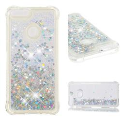 Dynamic Liquid Glitter Sand Quicksand Star TPU Case for Huawei P Smart(Enjoy 7S) - Silver