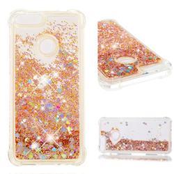 Dynamic Liquid Glitter Sand Quicksand Star TPU Case for Huawei P Smart(Enjoy 7S) - Diamond Gold