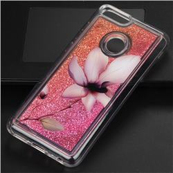 Lotus Glassy Glitter Quicksand Dynamic Liquid Soft Phone Case for Huawei P Smart(Enjoy 7S)