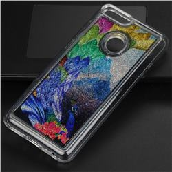 Phoenix Glassy Glitter Quicksand Dynamic Liquid Soft Phone Case for Huawei P Smart(Enjoy 7S)