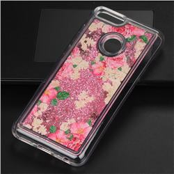 Rose Flower Glassy Glitter Quicksand Dynamic Liquid Soft Phone Case for Huawei P Smart(Enjoy 7S)