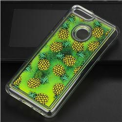 Pineapple Glassy Glitter Quicksand Dynamic Liquid Soft Phone Case for Huawei P Smart(Enjoy 7S)