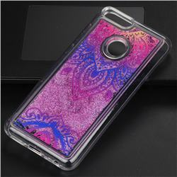 Blue and White Glassy Glitter Quicksand Dynamic Liquid Soft Phone Case for Huawei P Smart(Enjoy 7S)