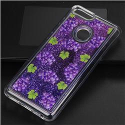 Purple Grape Glassy Glitter Quicksand Dynamic Liquid Soft Phone Case for Huawei P Smart(Enjoy 7S)