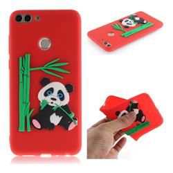 Panda Eating Bamboo Soft 3D Silicone Case for Huawei P Smart(Enjoy 7S) - Red