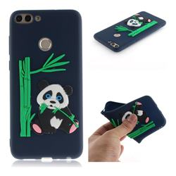 Panda Eating Bamboo Soft 3D Silicone Case for Huawei P Smart(Enjoy 7S) - Dark Blue