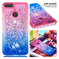 Diamond Frame Liquid Glitter Quicksand Sequins Phone Case for Huawei P Smart(Enjoy 7S) - Pink Blue