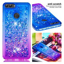 Diamond Frame Liquid Glitter Quicksand Sequins Phone Case for Huawei P Smart(Enjoy 7S) - Blue Purple