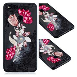 Tulip Lace Diamond Flower Soft TPU Back Cover for Huawei P Smart(Enjoy 7S)