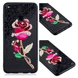 Rose Lace Diamond Flower Soft TPU Back Cover for Huawei P Smart(Enjoy 7S)