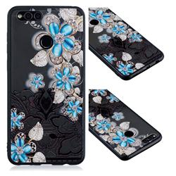 Lilac Lace Diamond Flower Soft TPU Back Cover for Huawei P Smart(Enjoy 7S)