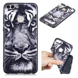 White Tiger 3D Embossed Relief Black TPU Cell Phone Back Cover for Huawei P Smart(Enjoy 7S)