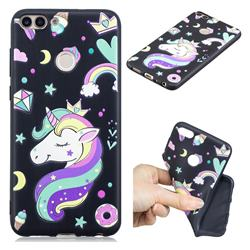 Candy Unicorn 3D Embossed Relief Black TPU Cell Phone Back Cover for Huawei P Smart(Enjoy 7S)