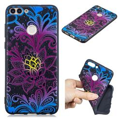 Colorful Lace 3D Embossed Relief Black TPU Cell Phone Back Cover for Huawei P Smart(Enjoy 7S)