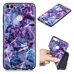 Marble 3D Embossed Relief Black TPU Cell Phone Back Cover for Huawei P Smart(Enjoy 7S)