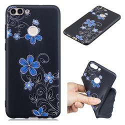 Little Blue Flowers 3D Embossed Relief Black TPU Cell Phone Back Cover for Huawei P Smart(Enjoy 7S)