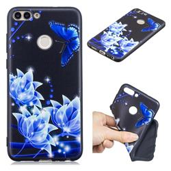 Blue Butterfly 3D Embossed Relief Black TPU Cell Phone Back Cover for Huawei P Smart(Enjoy 7S)