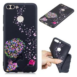 Corolla Girl 3D Embossed Relief Black TPU Cell Phone Back Cover for Huawei P Smart(Enjoy 7S)