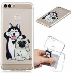 Selfie Dog Clear Varnish Soft Phone Back Cover for Huawei P Smart(Enjoy 7S)