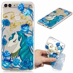 Blue Flower Unicorn Clear Varnish Soft Phone Back Cover for Huawei P Smart(Enjoy 7S)