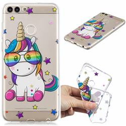 Glasses Unicorn Clear Varnish Soft Phone Back Cover for Huawei P Smart(Enjoy 7S)