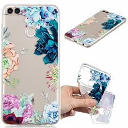 Gem Flower Clear Varnish Soft Phone Back Cover for Huawei P Smart(Enjoy 7S)